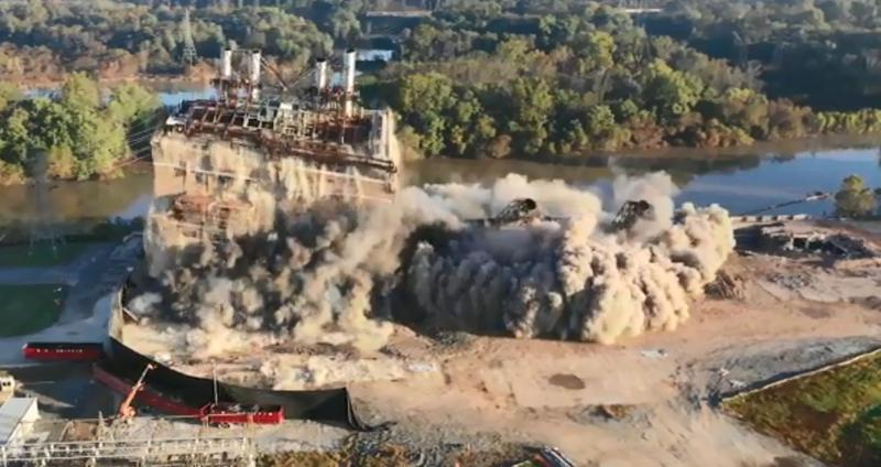 The last section of Duke Energy's Buck Steam Station in Salisbury was imploded Friday.