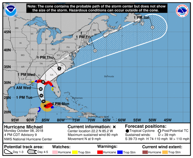 The National Weather Service predicts Hurricane Michael will reach the Carolinas by Thursday.