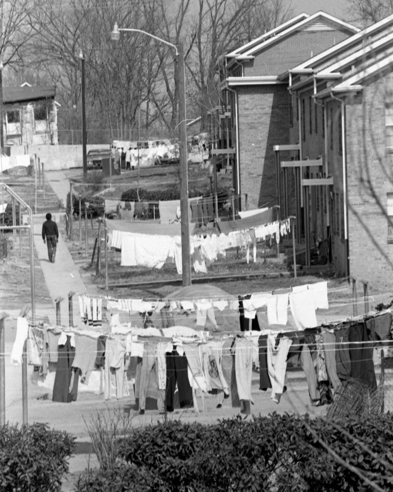 An alleyway in Earle Village as photographed in March 1978.