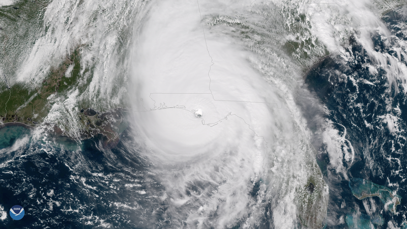 A view of Hurricane Michael as it makes landfall in Florida.