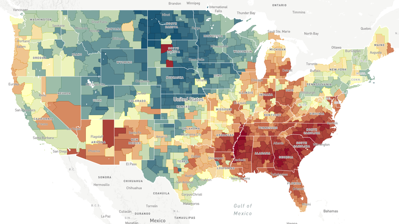 This map, a screenshot fromThe Opportunity Atlas, shows household income in 2014-2015 for people born between 1978 and 1983 to low-income parents. In areas that are more red, people who grew up in low-income households tended to stay low-income.