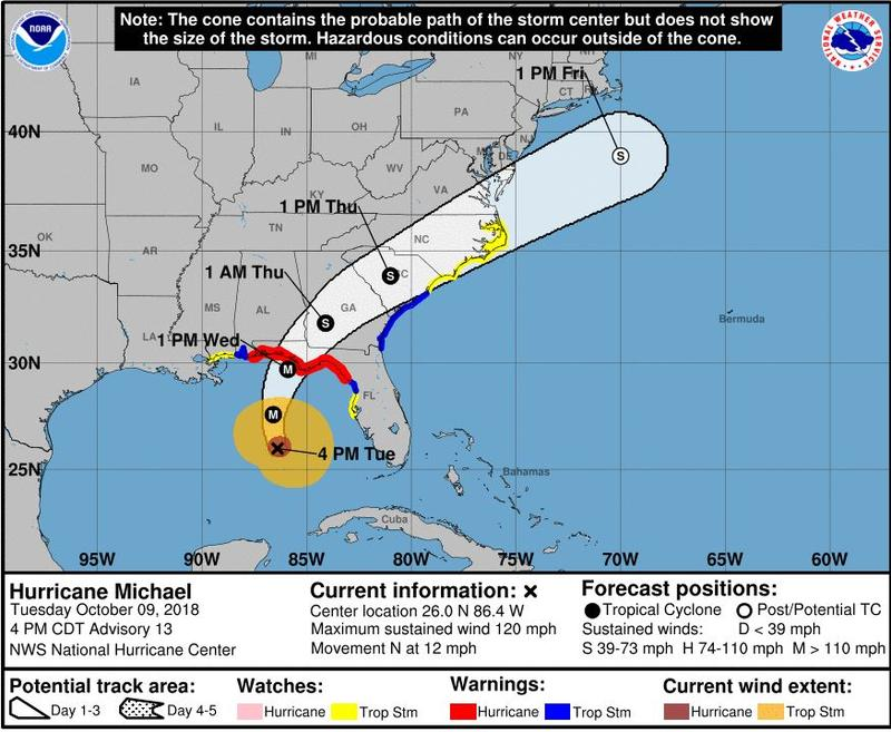 The three-day forecast released by the National Hurricane Center shows Michael arriving in South Carolina at 1 p.m. Thursday and them moving northeast through North Carolina.