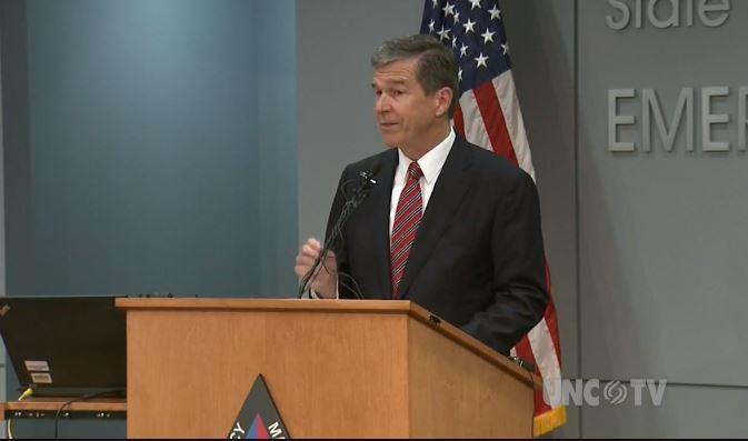 Governor Roy Cooper gave his proposed budget after an update on Hurricane Michael.