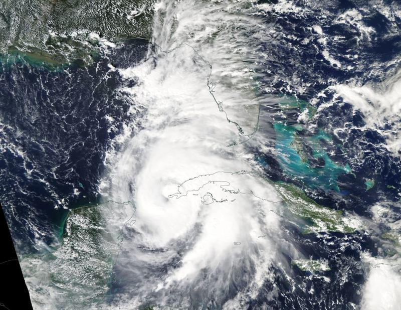 The MODIS instrument aboard NASA's Aqua satellite captured a visible image of Hurricane Michael when it was a Category 1 hurricane Oct. 8 near the western tip of Cuba.