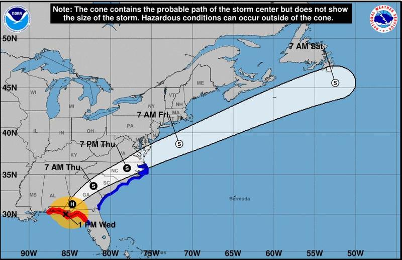 Hurricane Micheal is expected to arrive in North Carolina around 7 p.m. Thursday.