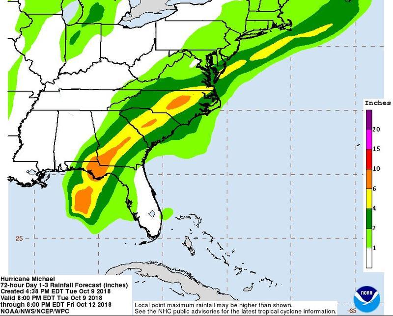 Expected rainfall from Hurricane Matthew.