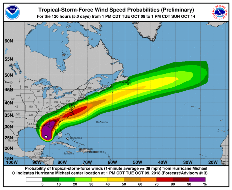 The National Weather Service predicts Tropical Storm force winds in North and South Carolina.