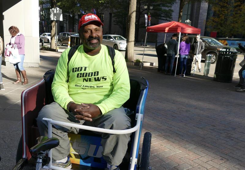 """Sam Bethea, a.k.a. the """"Jesus Saves"""" guy,  can be heard nearly three city blocks away."""