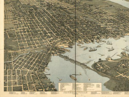 1893 bird's-eye view of Jacksonville, with steamboats moving throughout the St. Johns River