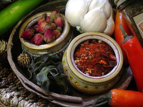 Ingredients for harissa. Dried rosebuds are used in some harissa pastes.