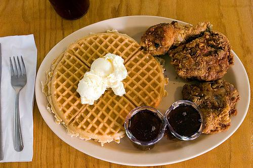 Chicken and waffles from Roscoe's.