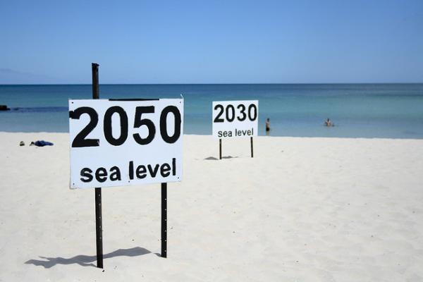 Taken on a beach in Australia. One prediction of where rising sea levels will end up. Some scientists say our predictions are far too conservative.