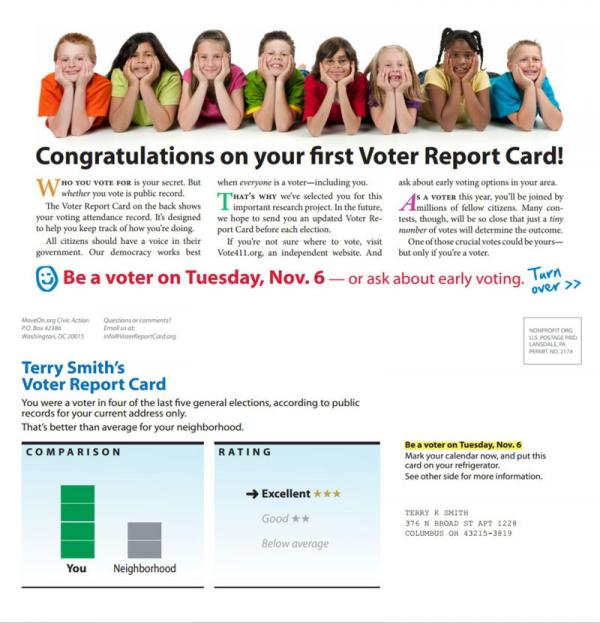 MoveOn.org sent out over 630,000 of these report cards to North Carolina voters.