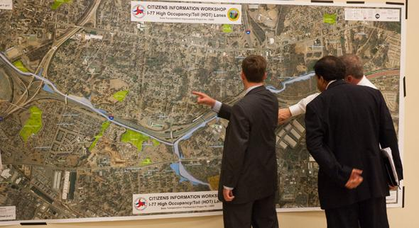 Officials and citizens looked at a map of the proposed HOT lanes north of Charlotte at a May workshop at Cornelius Town Hall.