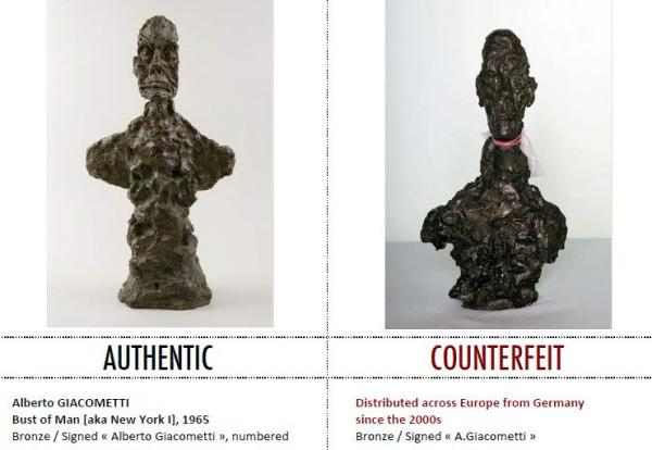 A real Giacometti and a counterfeit. Alberto Giacometti's work fetches a lot of money at auction and is ripe for forgery.