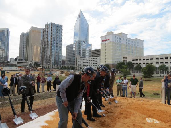 Charlotte City Councilmembers break ground on Knights Stadium Uptown in September 2012.