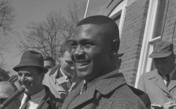 Harvey Gantt smiles for reporters on Jan. 23, 1968 - the day he became the first African American to enroll at Clemson University in South Carolina.