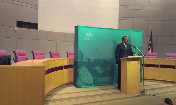 Mayor Anthony Foxx at City Council chamber, delivering his annual state of the city address.
