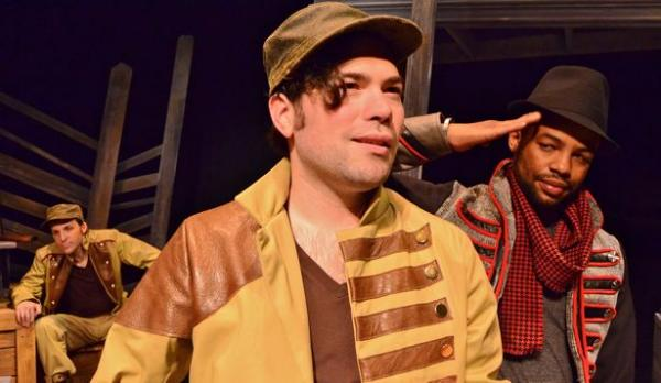 """left: Mark Sutton, Chaz Pofahl and Mason """"Quill"""" Parker in a hip hop stage adaptation of author Stephen Crane's 1895 novel """"Red Badge of Courage"""""""