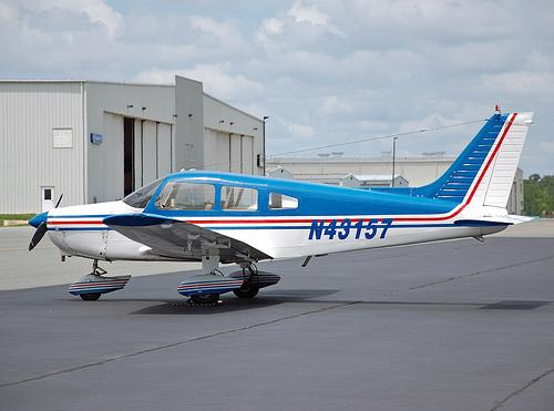 A plane parked at the Concord Regional Airport in Concord, N.C.