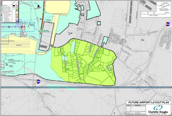 The area in lime green is the neighborhood the Charlotte airport plans to buy out.