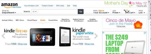 Screen shot of Amazon.com