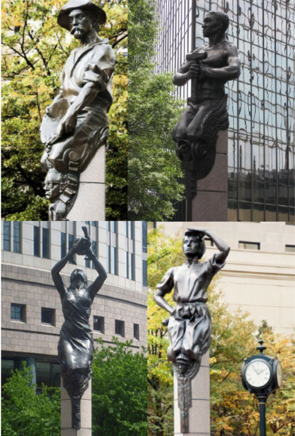The Sculptures on The Square at Trade & Tryon in Uptown Charlotte. Clockwise from left: Commerce, Transportation, Industry and The Future.