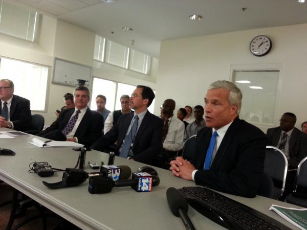 Panthers President Danny Morrison (far right) speaks a committee of the Charlotte City Councilman. City attorney Bob Hagemann (center) and Deputy City Manager Ron Kimble (left) negotiated the deal to invest $87.5 million in taxpayer money for Bank of America stadium renovations.