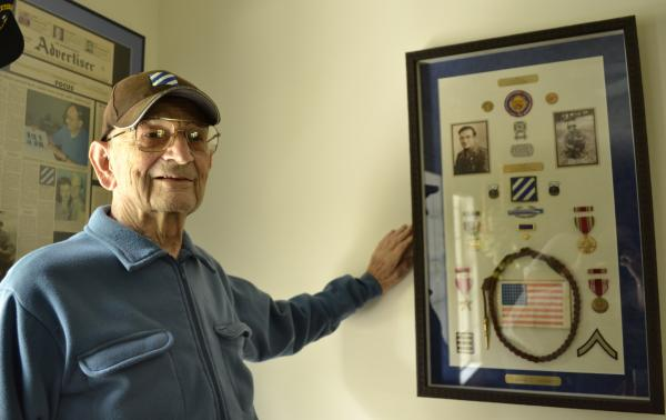 Vince Adametz with his WWII medals