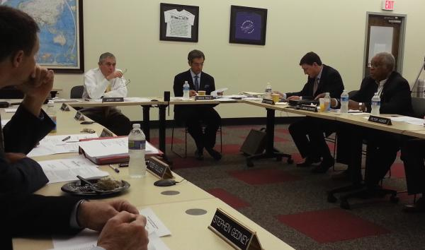 Charlotte Aviation Director Jerry Orr meets with the Airport Advisory Committee on Thursday, May 2, 2013. Vice Chairman Drew Riolo sits to Orr's left.