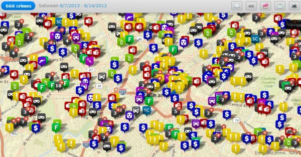 A map shows the number of crimes in the Charlotte-Mecklenburg area over the past week.