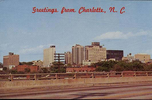 A postcard of uptown Charlotte in 1963.