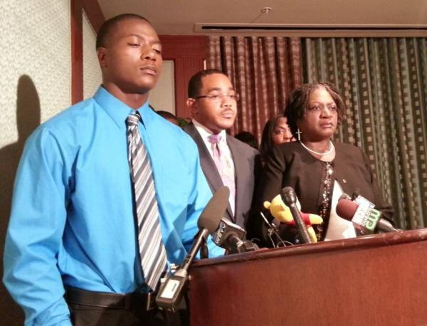 Jonathan Ferrell's brother Willie, the family's attorney Christopher Chestnut and Ferrell's mother Georgia held a press conference in Charlotte on Monday morning.