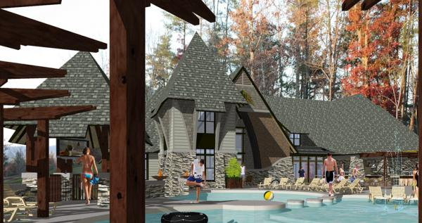 A rendering of Arcadia's clubhouse.