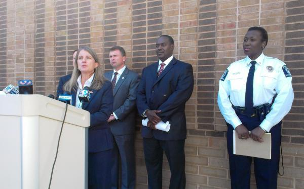 U.S. Attorney for the Western District of North Carolina Anne Tompkins speaking at a press conference at CMPD's North Tryon Division.