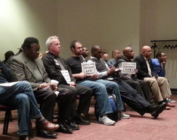 """Members of a coalition called """"CRB Reform Now"""" attend a meeting of the Charlotte City Council's Council-Manager Subcommittee which unanimously approved recommended changes to the police department's Citizens Review Board."""