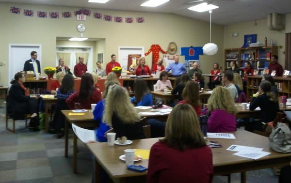 "Mt. Mourne IB Principal Boen Nutting talks to parents as part of ""Walk-In"" activities."