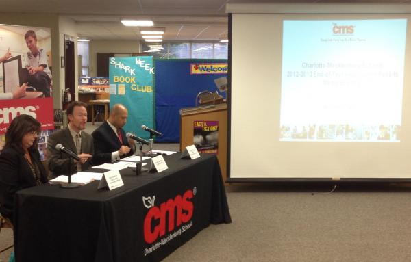 CMS officials announce the test scores on Thursday.