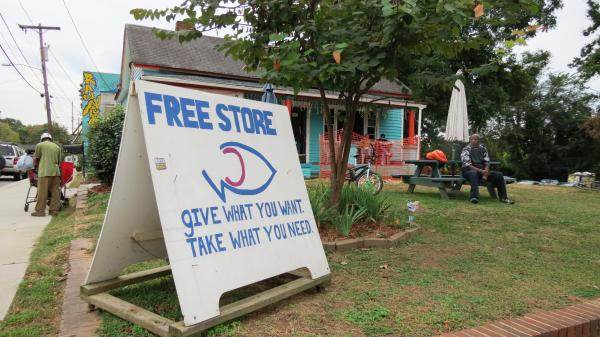 The Free Store's motto is 'Give what you want. Take what you need.' The store is located at Area 15 on the corner of East 15th  and North Caldwell Street.