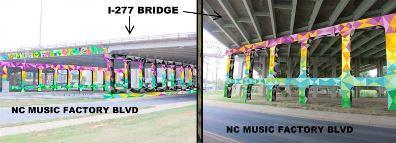 Proposal for I-277 underpass artwork, designed by graffiti artist Joe Dobson.
