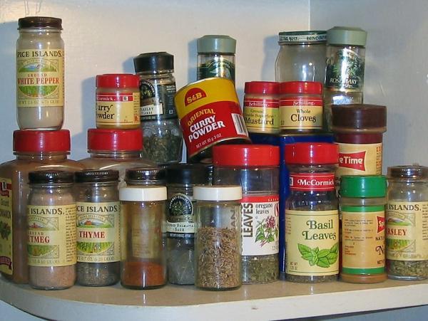 A kitchen shelf of spices.