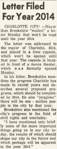 An article from The Charlotte News on May 11, 1964 about the time capsule.