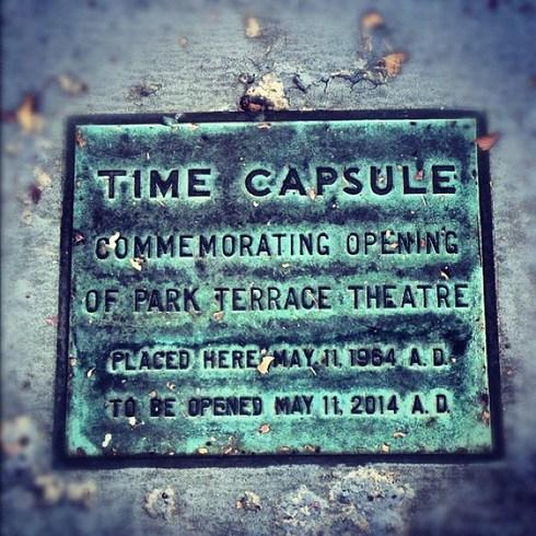 A plaque marks the spot where the time capsule is buried.