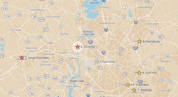 Five of the top ten places to retire in North Carolina, according to a real estate site, are in the Charlotte area. Only one, Sanford, is on North Carolina's certified retirement community list.