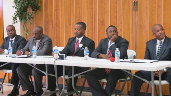 Pictured left to right: George Battle III, Sen. Malcolm Graham, Curtis Osborne, Rep. Marcus Brandon and Vince Coakley. Five of the nine North Carolina 12th district congressional candidates met Thursday night at the Little Rock A.M.E. Zion Church in Charlotte.
