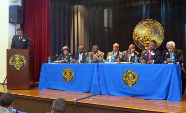 JCSU President Ron Carter introduces candidates (L to R) Alma Adams, George Battle, Marcus Brandon, Vince Coakley, Malcolm Graham, Curtis Osborne, Rajive Patel