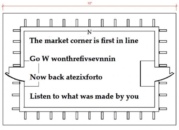 The new riddle on the side of the Seventh Street parking garage in uptown: The market corner is first in line/Go W wonthrefivsevnnin/Now back atezixforto/Listen to what was made by you.