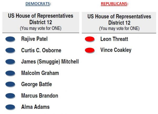 Seven Democrats and two Republicans are running for the 12th congressional district seat. Early voting for the May primary election begins on April 24.