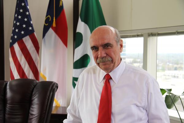 Mayor Dan Clodfelter in his new office