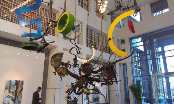 Jean Tinguely (1925-1991) was a Swiss artist who gained fame in the mid-60s as one of the leaders in kinetic sculpture featuring machines and moving parts. This piece was first completed in 1991 and fully restored in October 2009.